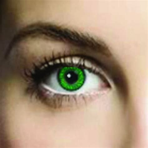 emerald green colored contacts hair and nails