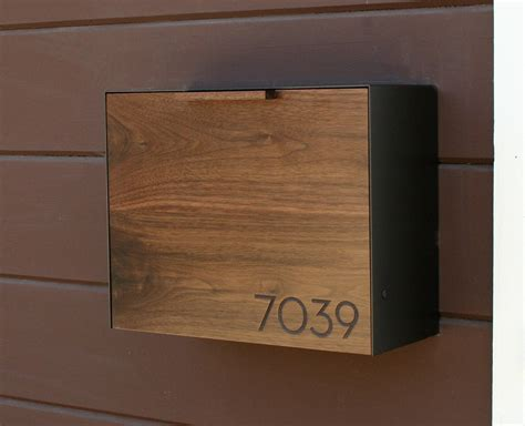 modern mailbox large walnut and stainless steel mailbox wall - Modern Mailbox Wall Mount