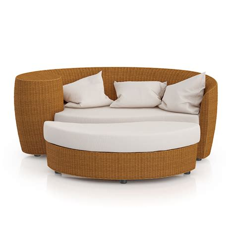 wicker sofa with footrest 3d model from cgaxiscgaxis 3d