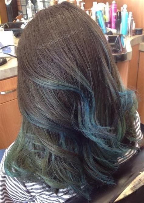 brown hair with blonde and blue highlights gimme the blues bold blue highlight hairstyles pastel