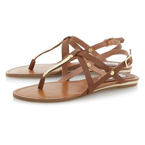 sandals flat steve madden junyaa flat sandals in brown lyst