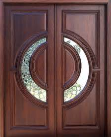Elegant mahogany and glass arch double front door home design photo
