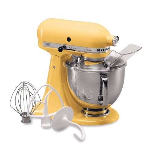 kitchen aid yellow artisan 174 series 5 quart tilt stand mixer ksm150psmy