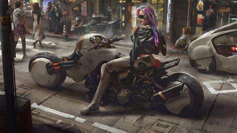 cyberpunk motorcycle sci fi girl   wallpaper
