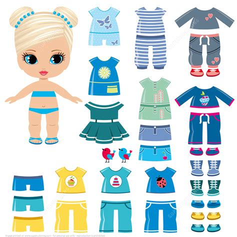 printable paper doll dresses summer clothing and shoes for a little girl paper doll