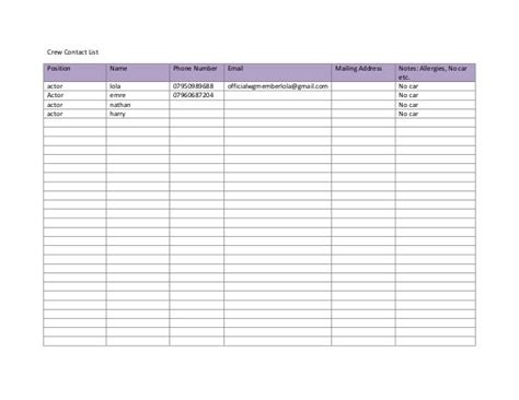 crew list template crew contact list