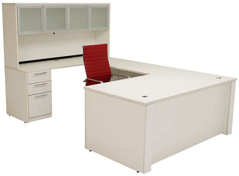 Adjustable Height U Shaped Executive Office Desk In White Adjustable Height Office Desk
