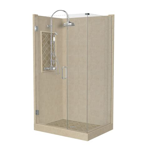 Bathroom Shower Kit Shop American Bath Factory Panel Medium Fiberglass And Plastic Square Corner Shower Kit Actual