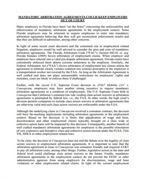 arbitration agreement template doc 600730 employment arbitration agreement sle