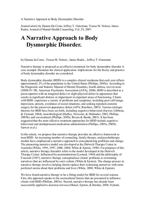 Disorders Essay by A Narrative Approach To Dysmorphic Disorder