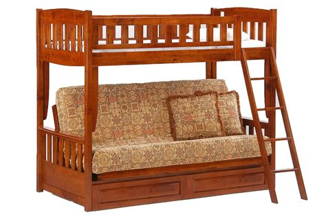 wooden bunk beds with futon futon bunk bed cherry cinnamon twin full kids bunk the