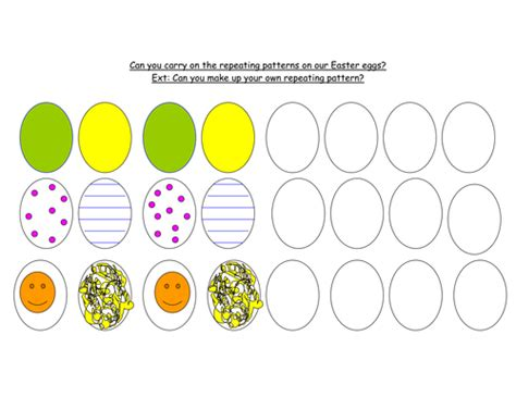 pattern worksheets eyfs easter eggs repeating patterns by maddy2009 teaching