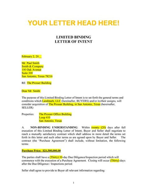 Letter Of Intent For Mortgage Sle Letter Of Intent To Purchase Property Free Printable