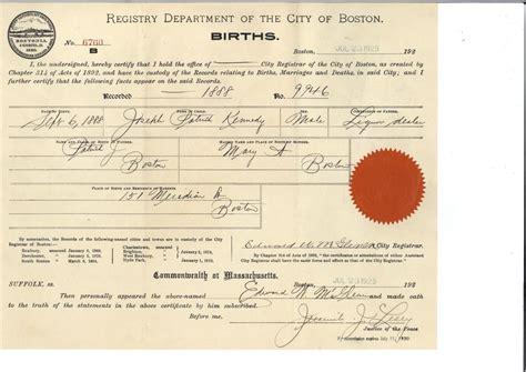 Birth Records Boston Ma Birth Certificate F Kennedy Presidential Library