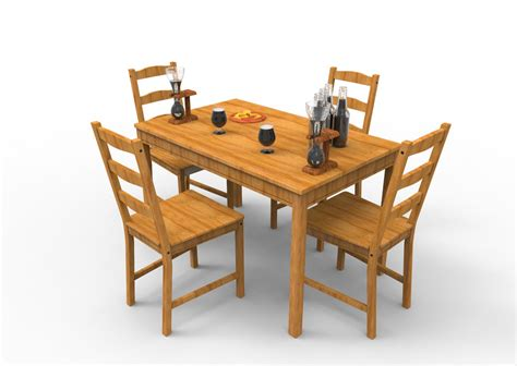 Jokkmokk Table ikea jokkmokk table with chairs step iges 3d cad model grabcad