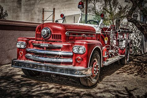 wallpaper engine retro picture fire engine 1957 red hdr vintage cars