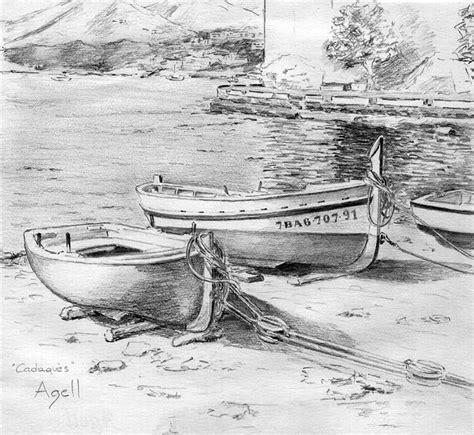 imagenes de barcos a lapiz barcas de cadaqu 233 s dibuix de cinta agell siluetas lapiz