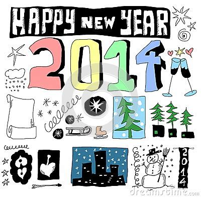 happy doodle 2014 doodle happy new year 2014 royalty free stock photo