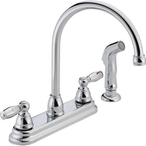 Peerless Kitchen Faucet Reviews Peerless Apex 2 Handle Standard Kitchen Faucet With Side Sprayer In Chrome P299575lf The Home