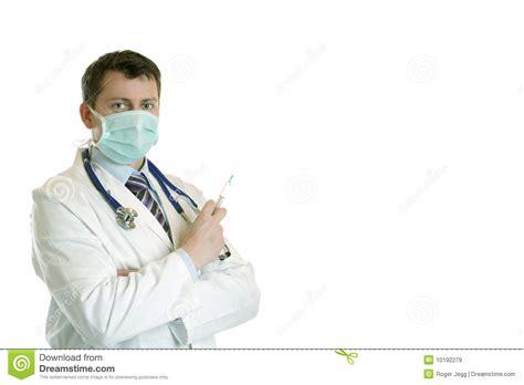 Masker Dokter dokter met stethoscoop masker en injectie stock afbeelding afbeelding bestaande uit injectie