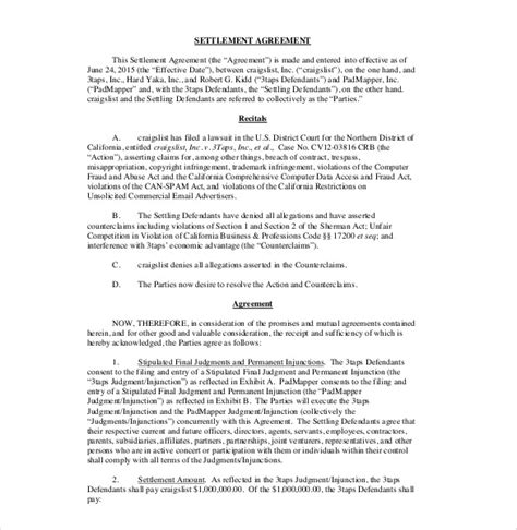 settlement agreement template settlement agreement template 13 free word pdf document