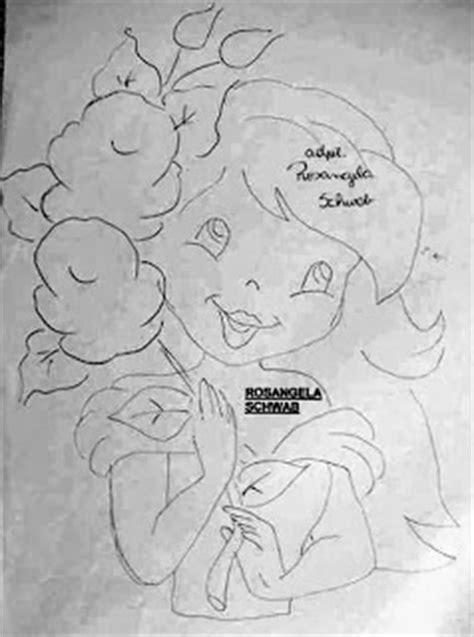 Coisas da Nil - Pintura em tecido: Boneca com rosas.