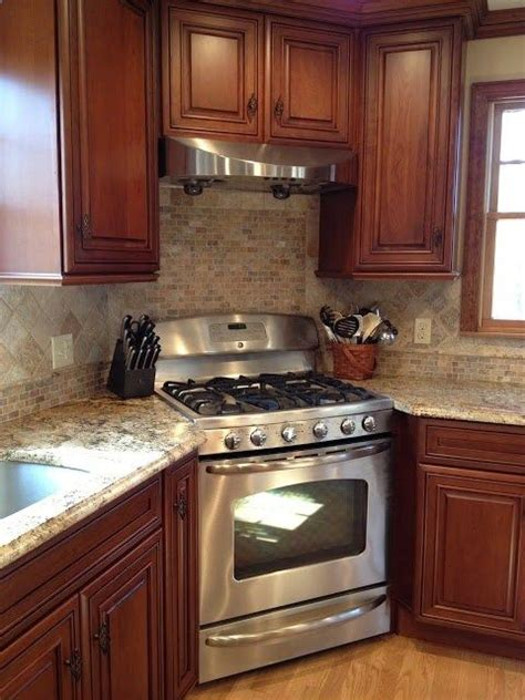 Kitchen Stove Designs Kitchen Designed With A Corner Stove Kitchens Interiordesign The Color Combinations