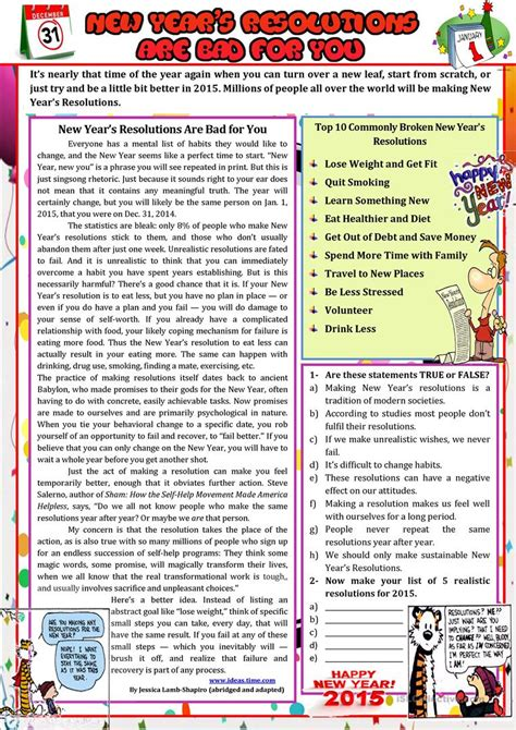 reading comprehension for new year new year s resolutions are bad for you worksheet free
