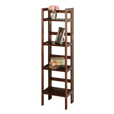 3 shelf bookcase amazon amazon com winsome wood folding 4 tier shelf antique