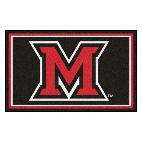 college rugs fanmats ncaa miami oh black 4 ft x 6 ft area rug 20210 the home depot