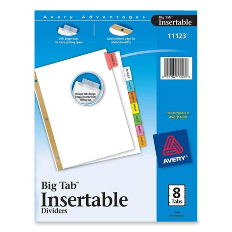 Avery Worksaver Big Tab Insertable Tab Divider Ld Products Avery Worksaver Big Tab Insertable Dividers Template