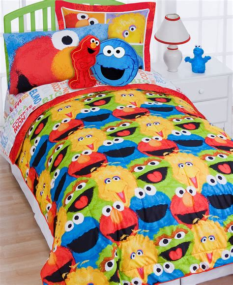 sesame street comforter pillow sham set elmo chalk bedding
