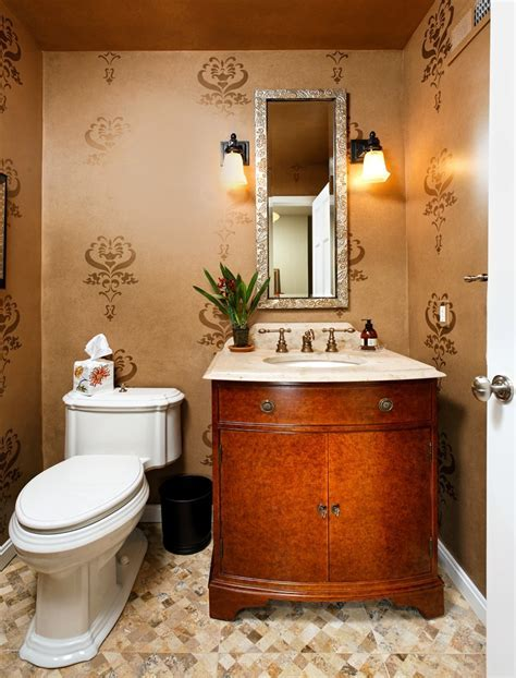 Stenciling walls ideas powder room contemporary with
