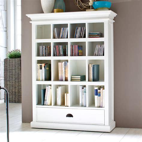halifax white mahogany bookcase  drawer dcg stores