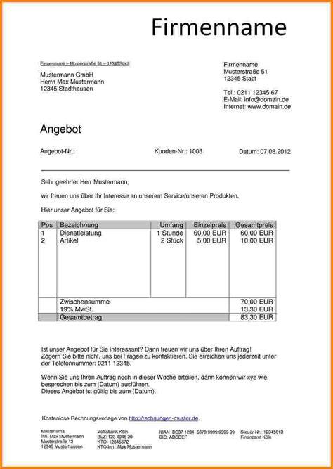Brief Anfrage Kostenvoranschlag 2 Angebot Schreiben Kleinunternehmer Sponsorshipletterr