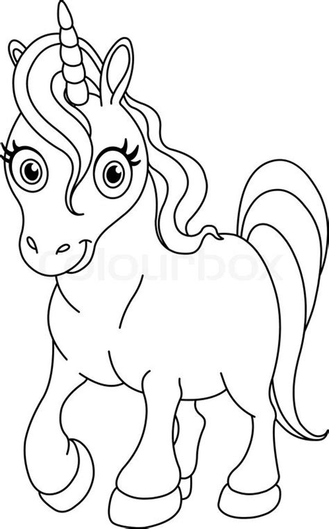 black and white coloring pages of unicorns outlined coloring page cute unicorn stock vector colourbox