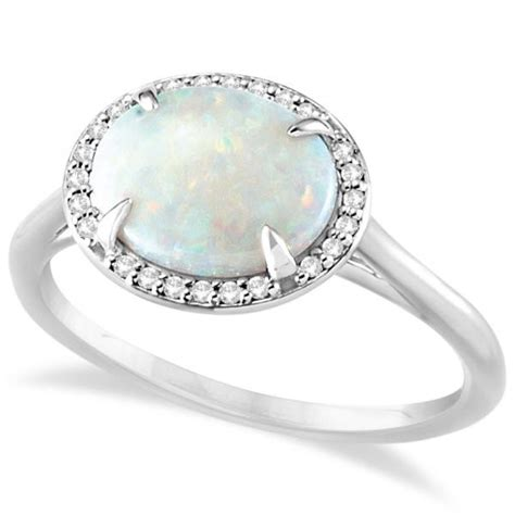 White Topaz 5 56ct Tp1650328 accented halo opal fashion ring 14k white gold 3 56ct