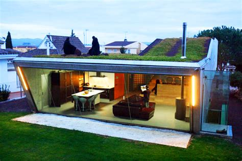 villa bio home with a cantilevered living roof is a feat