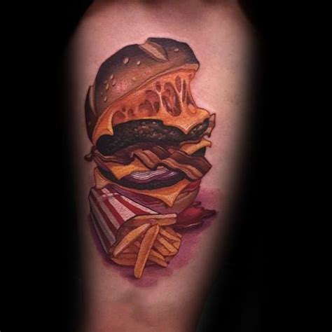 cheeseburger tattoo 40 cheeseburger designs for food ink ideas