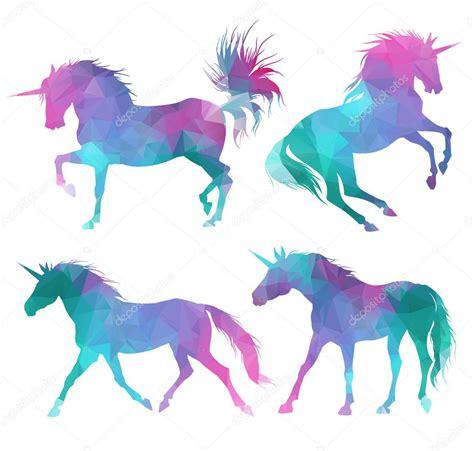 imagenes de unicornios a color conjunto de silueta de unicornios vector de stock