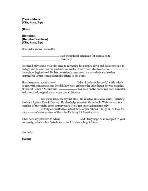 Recommendation Letter For College Application letter of recommendation for college applicant don t