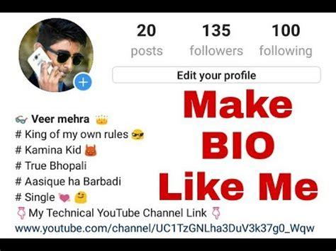 bio for instagram attitude how to create instagram a bio like me youtube