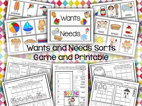 kindergarten activities needs and wants wants and needs charts games and printables top