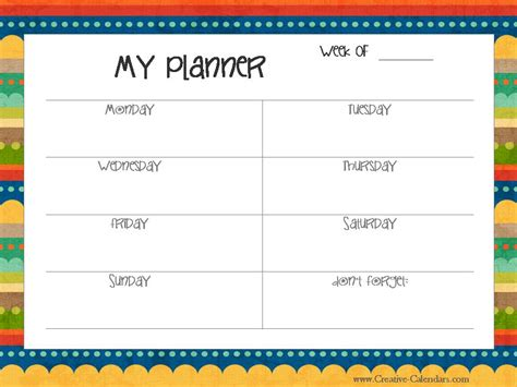 printable children s weekly calendar free printable weekly planner