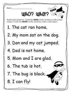 Finding The Subject Of A Sentence Worksheet by 25 Best Ideas About Subject Predicate Activities On