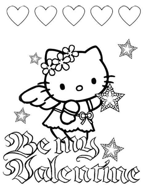 hello kitty coloring pages for valentines day valentine hello kitty with heart coloring picture for kids
