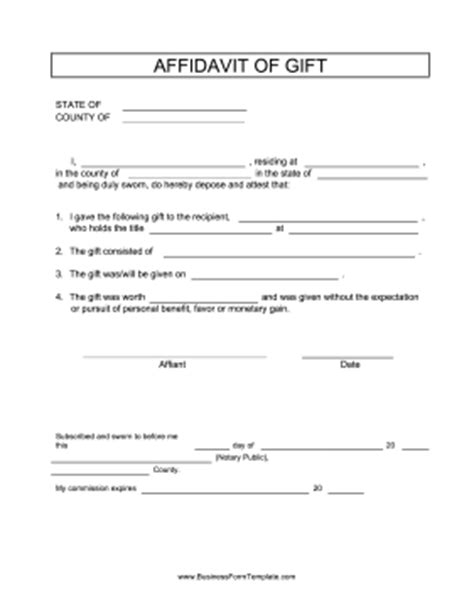 Does A Gift Letter To Be Notarized Affidavit Of Gift Template