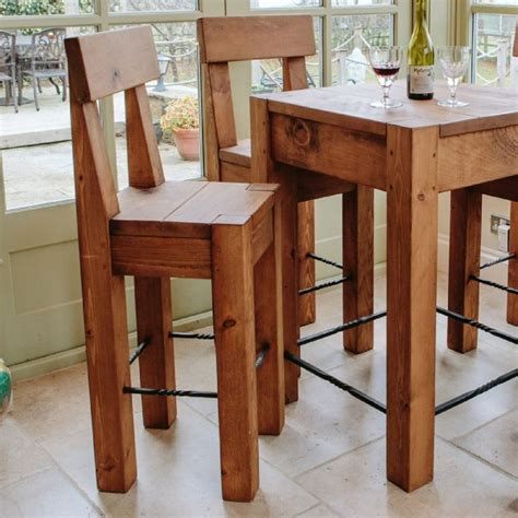table and bar stools lumber plank bar stool