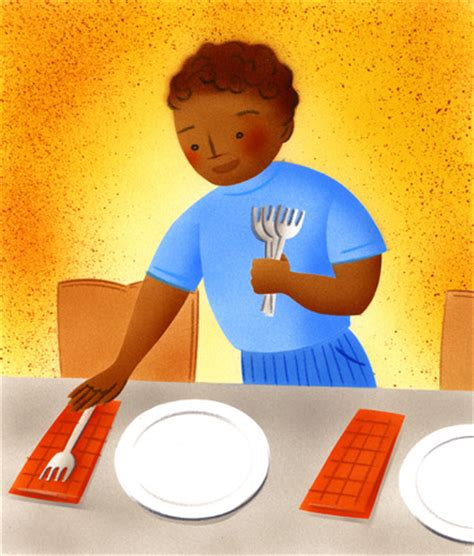 stock illustration boy setting table for dinner