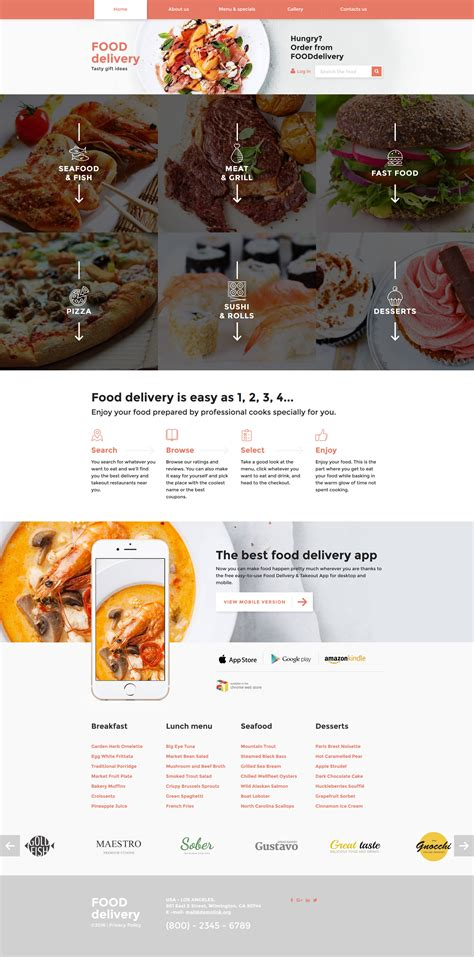 responsive website templates for quiz catering responsive website template 58276